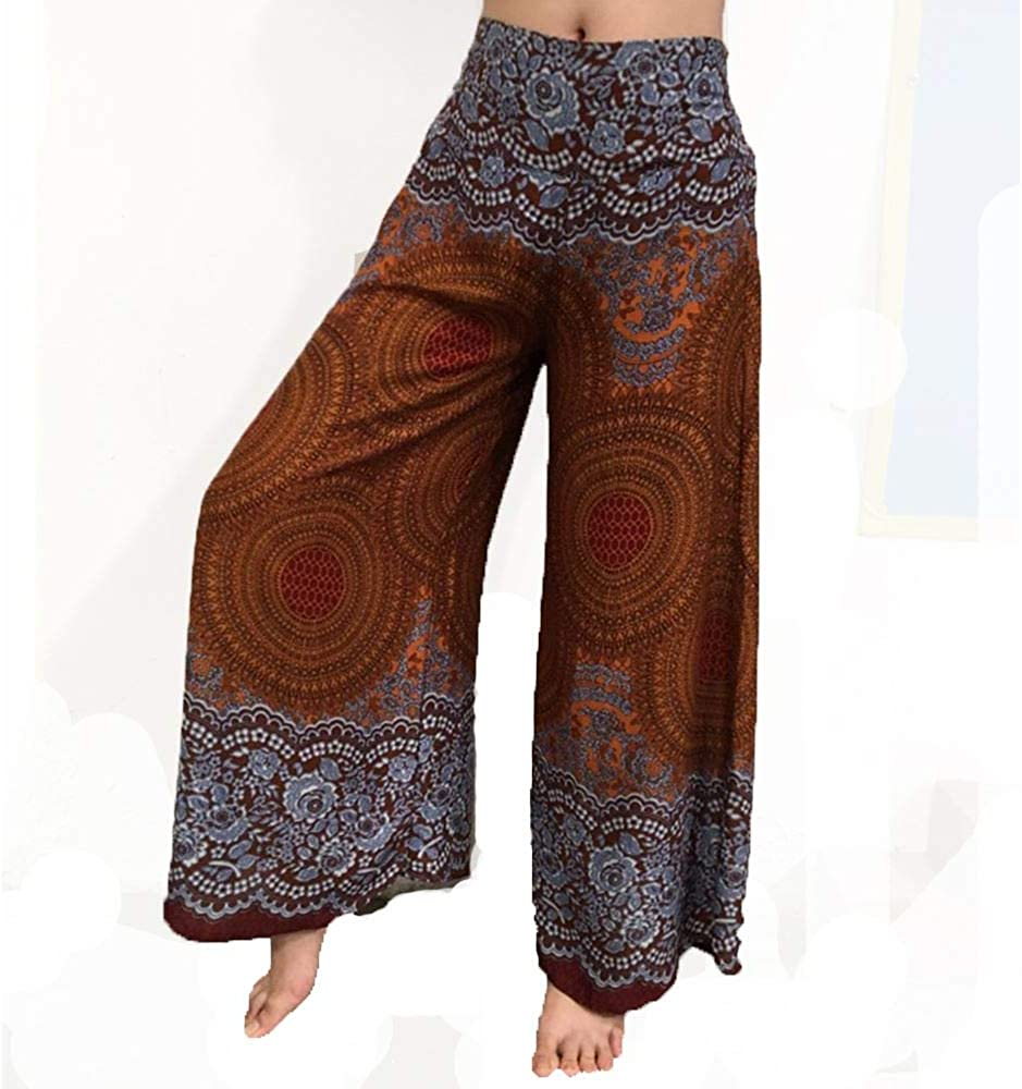 Lofbaz Donna Gamba Larga Palazzo Pantaloni Yoga Hippie Harem Flowy
