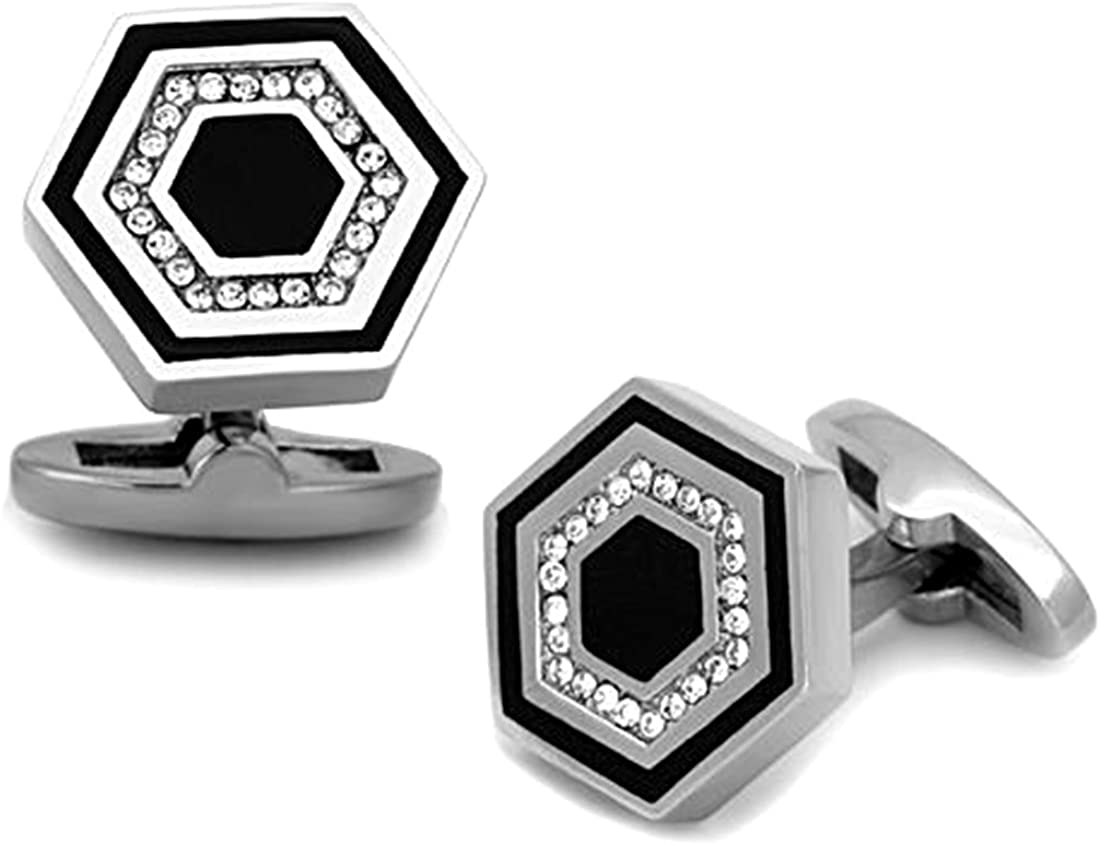 Square Stainless Steel and Black Cufflinks with Top Grade Crystal Clear Stones