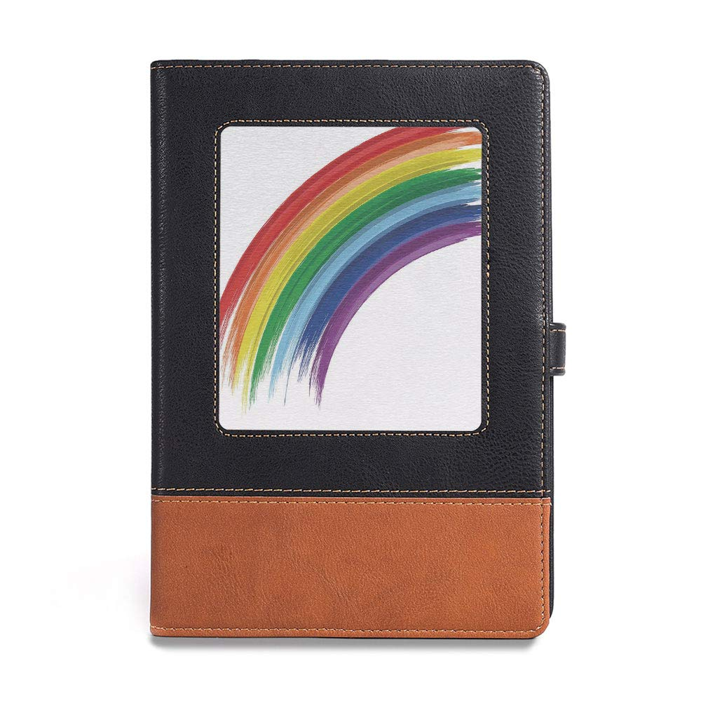 Quality paper,Rainbow,A5(6.1'' x 8.6''),perfect for those who enjoy sketching and drawing,Abstract Brush Marked Rainbow Pattern with Realistic Feel, by YOLIYANA