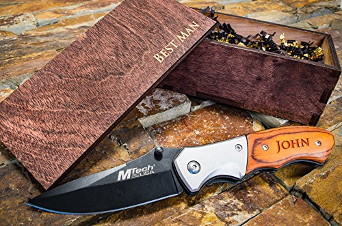 Personalized Knife  Wood Box Husband Groomsmen Wooden Gift Boxes Groomsman Set Hunting Man Engraved Custom Pocket Knives- Folding Blade Rustic Knifes…
