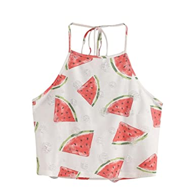 247acece0e04a Misaky Women Summer Tops Sleeveless Watermelon Halter Neck Tank Tops Crop  Tops at Amazon Women s Clothing store