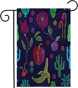 """Awowee 12""""x18"""" Garden Flag Summer Garden Floral Pattern Embroidered Fruits and Wildflowers 1950S Outdoor Home Decor Double Sided Yard Flags Banner for Patio Lawn"""