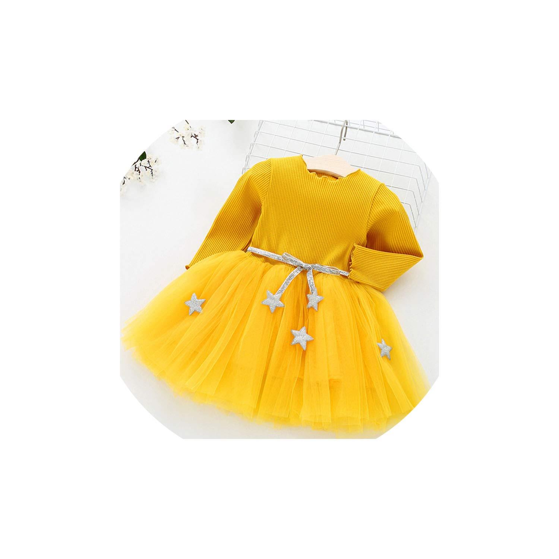 Yellow Meet fashion Baby Dresses for Girls Long Sleeved Knit Princess Dress Lotus Leaf Pocket Doll Dress Girls
