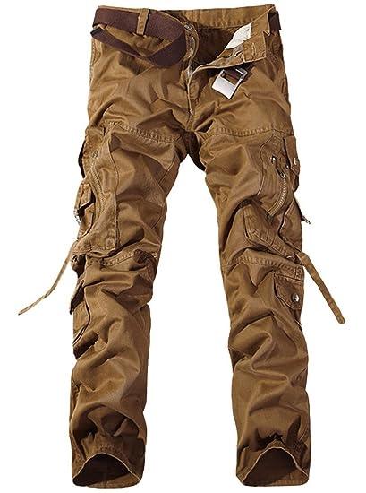 c077872dfa2 FEOYA Pantalon Long en Coton Homme pour Loisir Travail Pantalons Style Cargo  Couleur Unie sans Ceinture