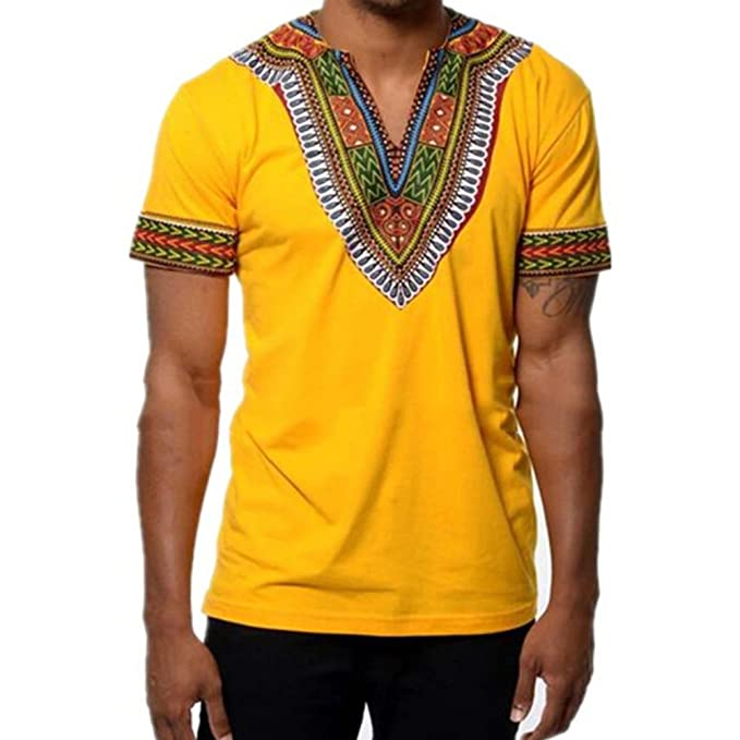 Juleya Camiseta Casual de Manga Corta para Hombre Blusa Estilo Africano Tops V Veck: Amazon.es: Ropa y accesorios