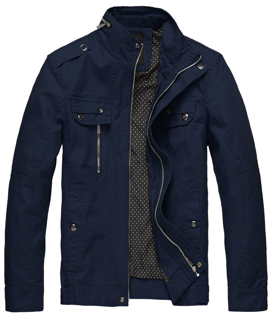 Wantdo Men's Washed Cotton Slim Windproof Outdoor Jacket Navy,Small by Wantdo