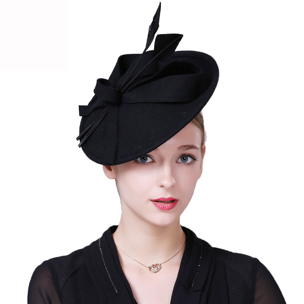 Vintage Womens Dress Fascinator Wool Pillbox Hat Formal Church Wedding Tilt Hat Black by FADVES (Image #1)