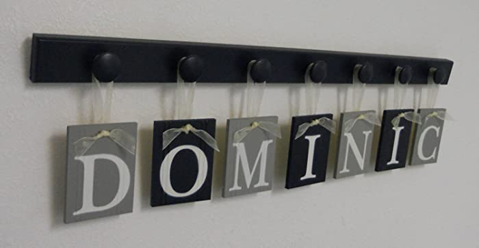 Navy Gray Nursery Wall Art Custom Grey Navy Blue Baby Boy Nursery Decor Set Includes Personalized Name And Wooden Wall Hooks Painted In Navy