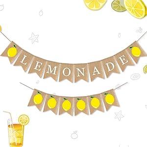 Cieovo Jute Burlap Lemonade and Lemon Banner Summer Lemon Theme Baby Shower Gender Reveal Birthday Party Mantel Fireplace TV Stand Decoration
