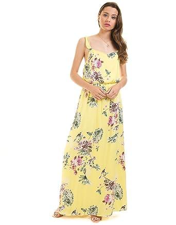 f9360566fbc VILA CLOTHES Long Yellow Dress Flowers Vitetri: Amazon.co.uk: Clothing