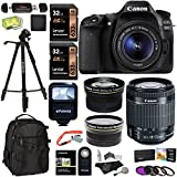 Canon EOS 80D Digital SLR Camera Kit EF-S 18-55mm Image Stabilization STM Lens + Polaroid .43x Super Wide Angle & 2.2X HD Telephoto Lens + X2 32GB Memory Cards + Flash + Filters + Accessory Bundle