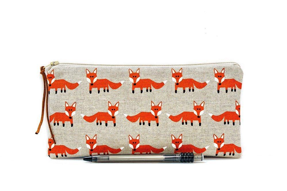 Fox pencil case, Kids pouch, School supplies, Woodland, Make Up bag, Cosmetic case, Animal pouch, Small zipper pouch, Pen bag, Teacher gift