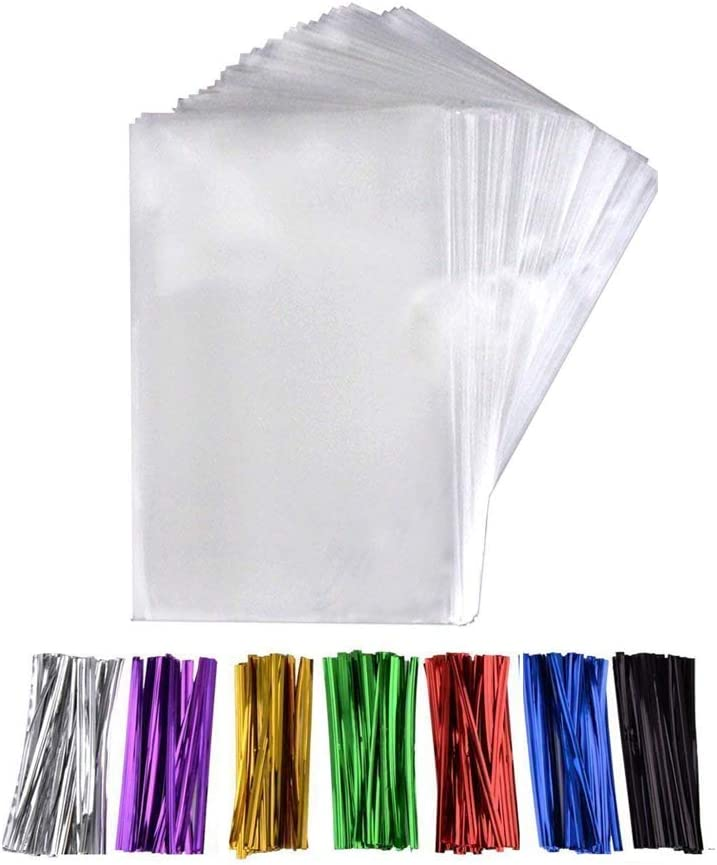 200 Pcs 6 in x 4 in(1.4mil.) Clear Flat Cello Cellophane Treat Bags Good for Bakery, Cookies, Candies,Dessert with five random color Twist Ties