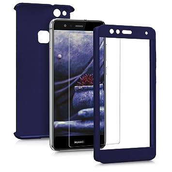 kwmobile Funda para Huawei P10 Lite - Carcasa Protectora Completa con [Cristal Templado] - Cover con Protector de Pantalla [Duro]