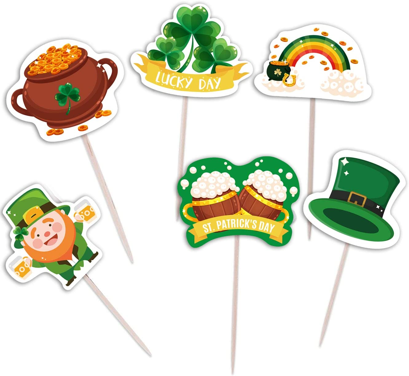 St. Patrick's Day Cupcake Toppers Picks - Shamrock Irish Lucky Toothpicks Cake Decorations Party Supplies 144Ct