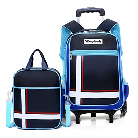 Rolling Mochila, asdomo – Mochila con ruedas equipaje con pequeñas bolsas de libro seis ruedas