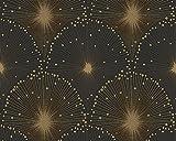 Spot 3 - Gold Black Graphic Metallic Luxury Wallpaper Roll, Modern Wall Decor