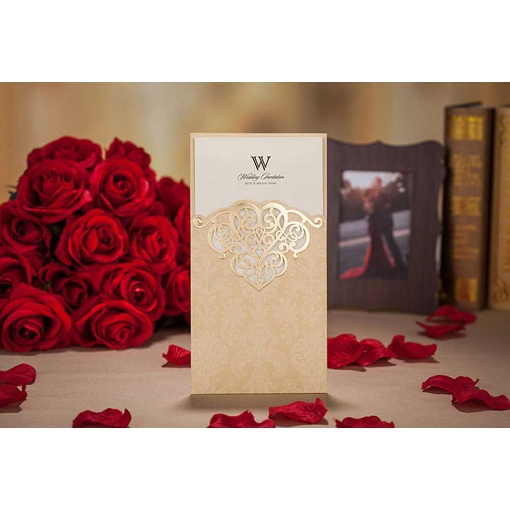 VStoy Laser Cut Vintage Elegant Pocket Wedding Invitations Cards ...