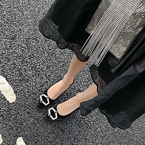 luz Transpirable 36 Moda punta elegante de 39 zapatos negro de zapatos Sandalias Solo Shoes satinado corbatas Heel AJUNR 7cm alto EqHwP8f48