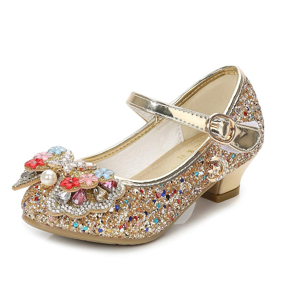 YING LAN Girls Cosplay Dress Wedding Party Shoes Glitter Sequins Low Heel Mary Jane Princess Shoes Gold