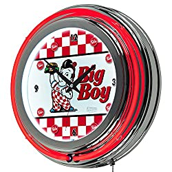 Bobs Big Boy Checkered Chrome Double Ring Neon Clock