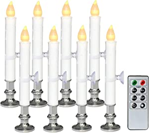 """Wondise White Flameless Window Taper Candles Battery Operated with Remote and Timer, Flameless Flickering Window Candles with Silver Holders and Suction Cups Christmas Window Decoration(9"""", Set of 8)"""