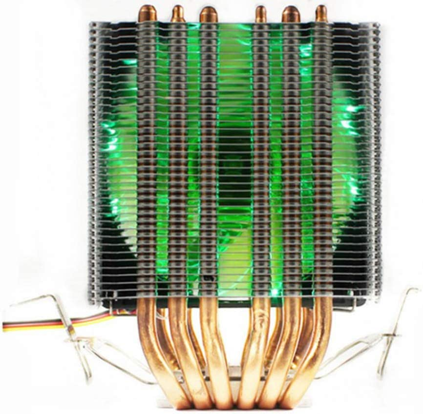 Cher9 6 Heat-Pipe Dual-Tower CPU Cooler Light 3Pin 1//2//3 Cooling Fan