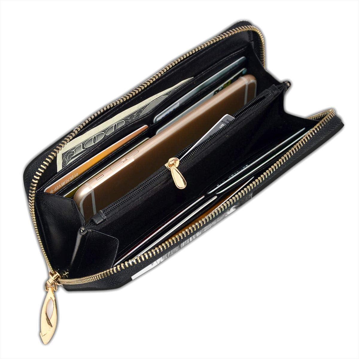 Women Genuine Leather Wallets Navigation Anchor Credit Card Holder Organizer Ladies Purse Zipper Around Clutch Cash Pocket