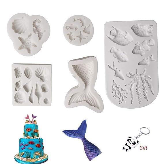 Leful Lot de 5 moules en Silicone en Forme d'animaux pour décoration de gâteaux, chocolats, Bonbons, pâtisserie, etc.
