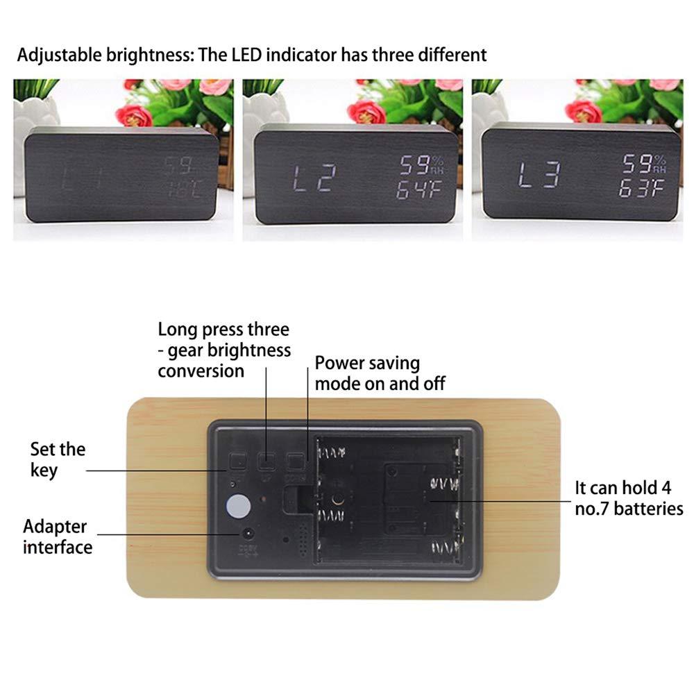 LED Holz moderne Tischuhr kleine stehende Uhr Datum Temperatur Luftfeuchtigkeit Anzeige digitaler Wecker