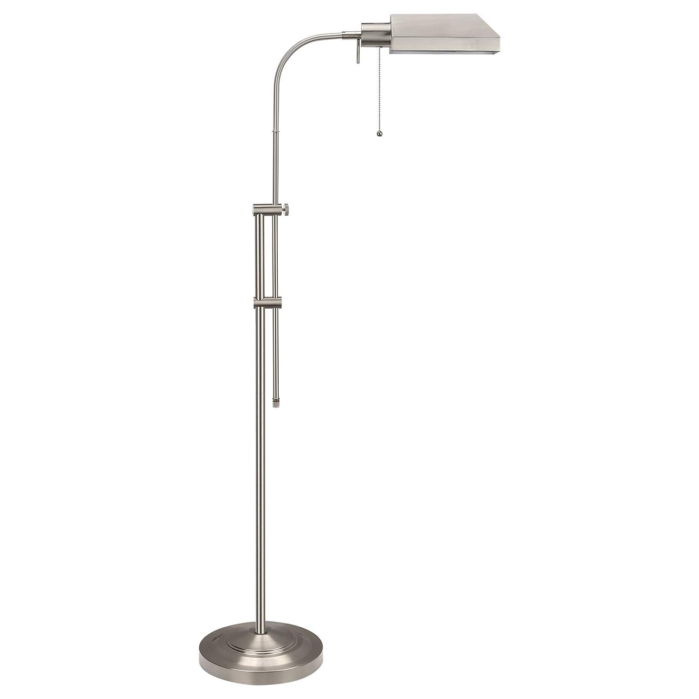 "Kira Home Prescott 58"" Adjustable Standing Pharmacy Floor Lamp, Brushed Nickel Finish, Includes 6W LED Bulb (60W eq.) Energy Efficient, Eco-Friendly"