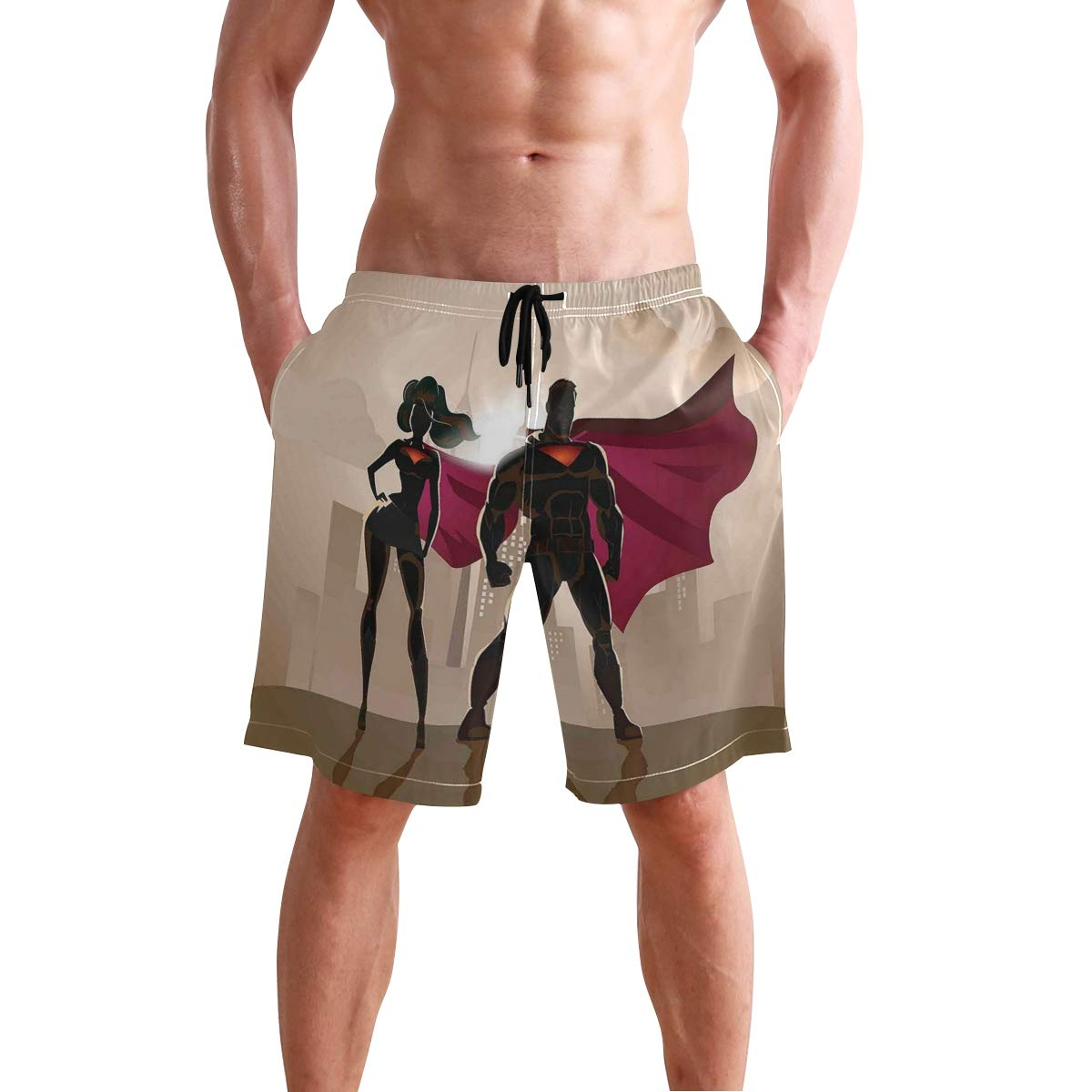 KVMV Super Woman Heroes in City Hot Couple Costume Pattern Quick Dry Beach Shorts