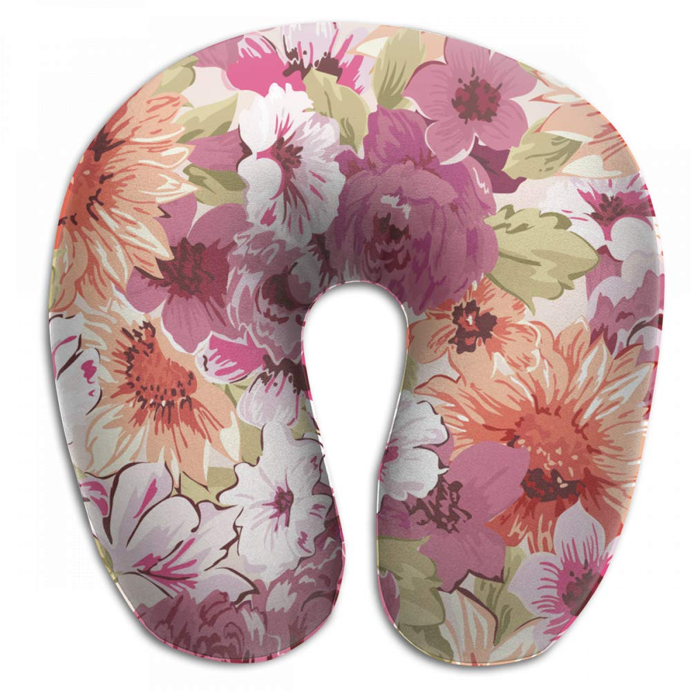 Wodehous Adonis Comfort Chinese Style Hand Painted Flowers Memory Foam Neck Pillows Neck-Supportive Travel Pillow