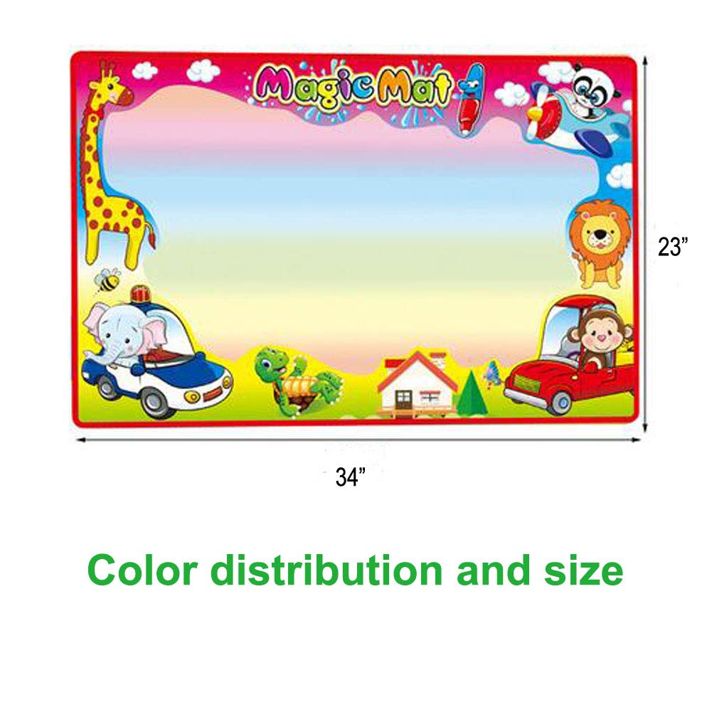 """Agirlvct Water Doodle Mat,Large Aqua Magic Writing Drawing Board Painting Pad Educational Toys with 3 Pens Birthday for Kids Toddlers Boys Girls 34 x 23/"""""""