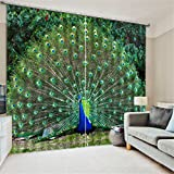 LB 2 Panels Room Darkening Thermal Insulated Blackout Window Curtains,Peacock Spread His Tail 3D Window Drapes for Living Room Bedroom - 80 Inch Width by 84 Inch Length
