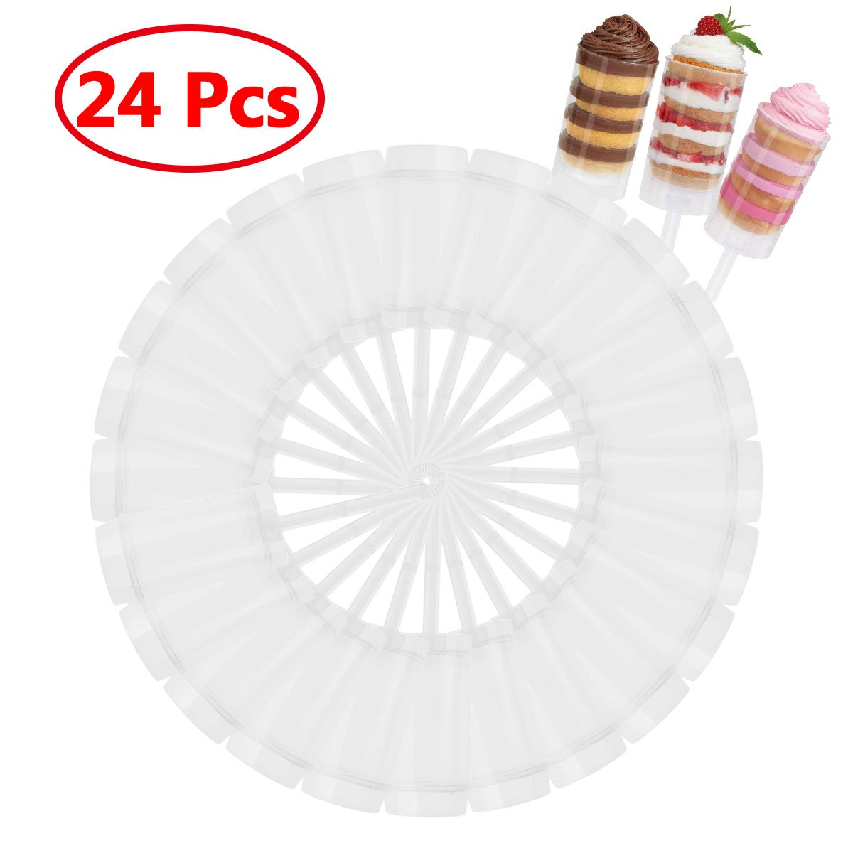 Round Push-Up Pop Cake Shooter Containers with Lids Base & Sticks for Cupcakes Cake Ice Cream Mold 24pcs One Size