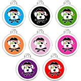CNATTAGS Stainless Steel with Enamel Pet ID Tags Designers Round Pirate Dog (Purple)