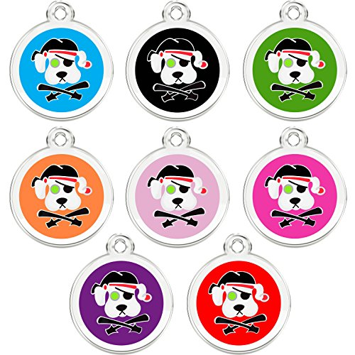 CNATTAGS Stainless Steel with Enamel Pet ID Tags Designers Round Pirate Dog (Orange)