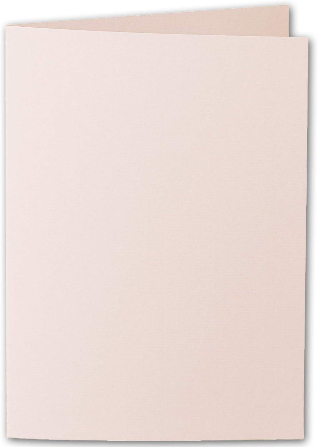 gerippt 148 x 210 mm Klappkarten hochdoppelt Apricot ARTOZ 50x DIN A5 Faltkarten mit Geschenkbox Blanko Doppelkarte mit 220 g//m/² edle Egoutteur-Rippung Rosa