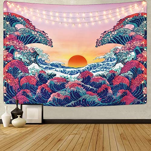 Sevenstars Wave Tapestry Trippy Sunset Tapestry Psychedelic Ocean Wave Tapestry 3D Great Wave Tapestry for Room
