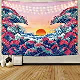 Sevenstars Ocean Wave Tapestry Sunset Tapestry 3D Great Wave Tapestry Japanese Tapestry for Room