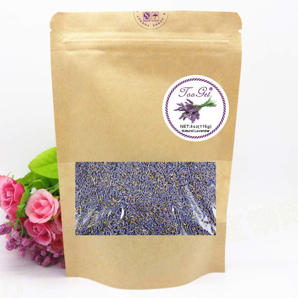 TooGet French Lavender Buds Organic Top Grade Dried Lavender Flower 100% Pure and Natrual Lavender Fresh Fragrance Large Resealable Bag - 4 OZ