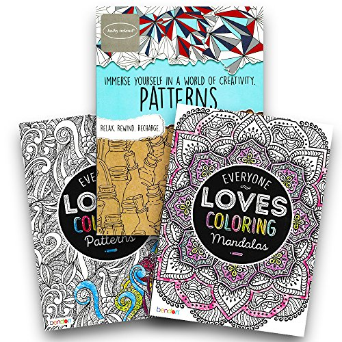 Advanced Adult Coloring Book Set -- Pack of 3 Premium Patterns and Mandalas Coloring Books for Adults (Pattern Collection)