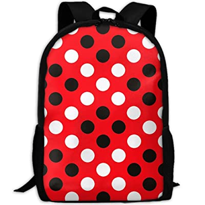 SZYYMM Red And Black Polkadot Oxford Cloth Casual Unique Backpack, Adjustable Shoulder Strap Storage Bag,Travel/Outdoor Sports/Camping/School For Women And Men