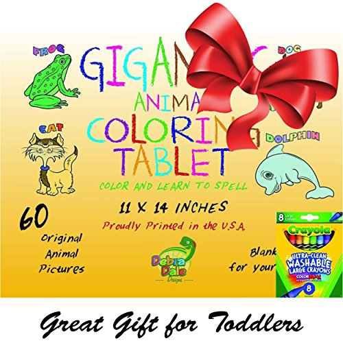 DEBRADALE DESIGNS Gigantic Animal Preschool Coloring Book for Toddlers + 8 Crayola Large Washable Crayons - Great Birthday for Toddlers Package - Keep Toddlers Entertained for Hours!