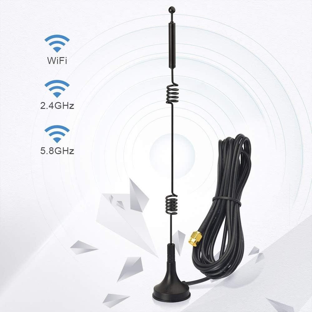 Bingfu Antena WiFi Doble Banda 2.4GHz 5GHz 5.8GHz RP-SMA Antena 9dBi Base Magnética MIMO (2-Paquete) para Hotspot Router Inalámbrico WiFi Tarjeta de ...