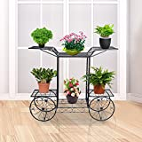 DoubleWin 6 Tiered Garden Cart Plant Stand w/ 4 Wheels (Non-rolling) for Indoors and Outdoors Decoration – Perfect for Home & Garden Lovers – Black