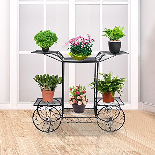 DoubleWin 6 Tiered Garden Cart Plant Stand w/ 4 Wheels (Non-rolling) for Indoors and Outdoors Decoration - Perfect for Home & Garden Lovers - Black