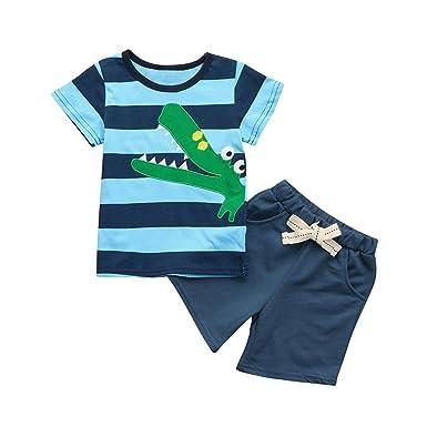PAOLIAN Conjuntos de Ropa para recién Nacidos bebé niños Verano Camisetas Embroidered de Dinosaurs + Pantalones