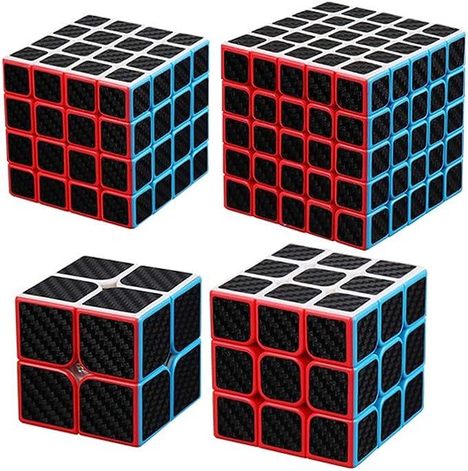 HZZ 4 Pack Speed Cube 50x50x50 56x56x56 62x62x62 63x63x63 Etiqueta De Fibra De Carbono Smooth Magic Cube Puzzle 3D Juguetes para NiñOs Y Adultos Negro: Amazon.es: Juguetes y juegos